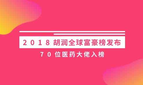 2018胡润全球富豪榜发布  70位医药大佬入榜